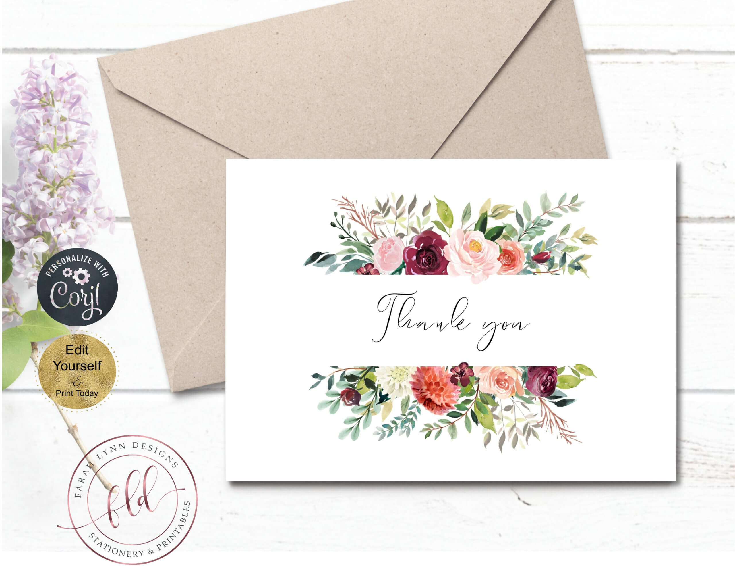 Thank You Note Card Template, Printable Fall Florals Wedding Intended For Thank You Note Card Template