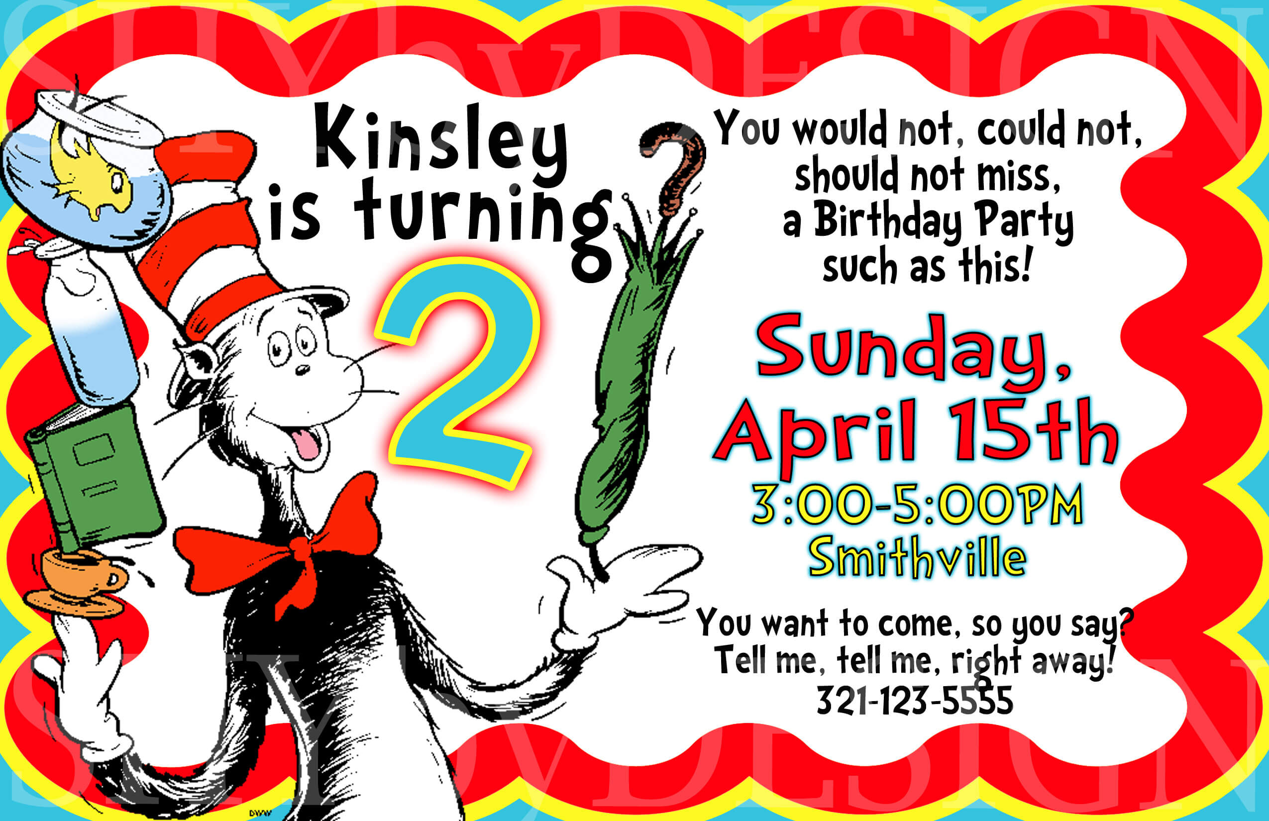 Tips Easy To Create Dr Seuss Birthday Invitations Designs Throughout Dr Seuss Birthday Card Template