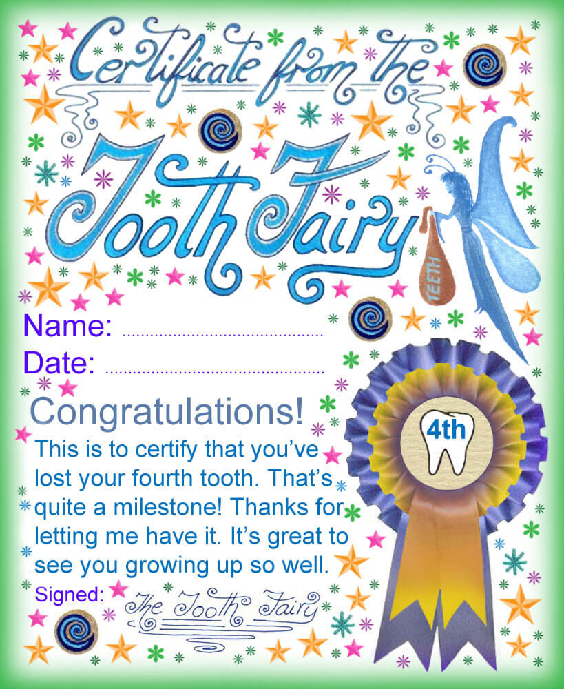 Tooth Fairy Certificate: Award For Losing Your Fourth Tooth In Free Tooth Fairy Certificate Template