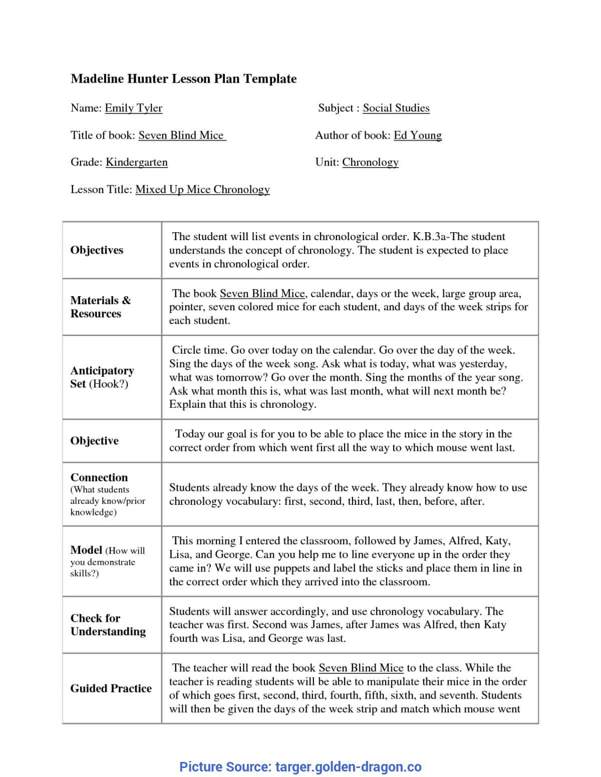 Top Madeline Hunter Lesson Plan Kindergarten Madeline Hunter Throughout Madeline Hunter Lesson Plan Template Blank