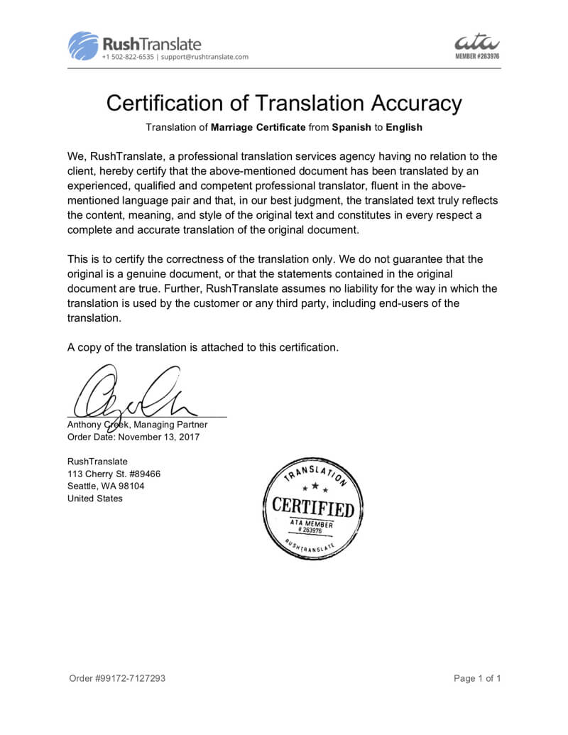 Translation Services With Regard To Birth Certificate Translation Template English To Spanish