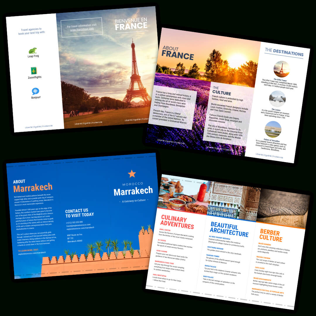 Travel Brochure Templates - Make A Travel Brochure - Venngage Regarding Travel Guide Brochure Template