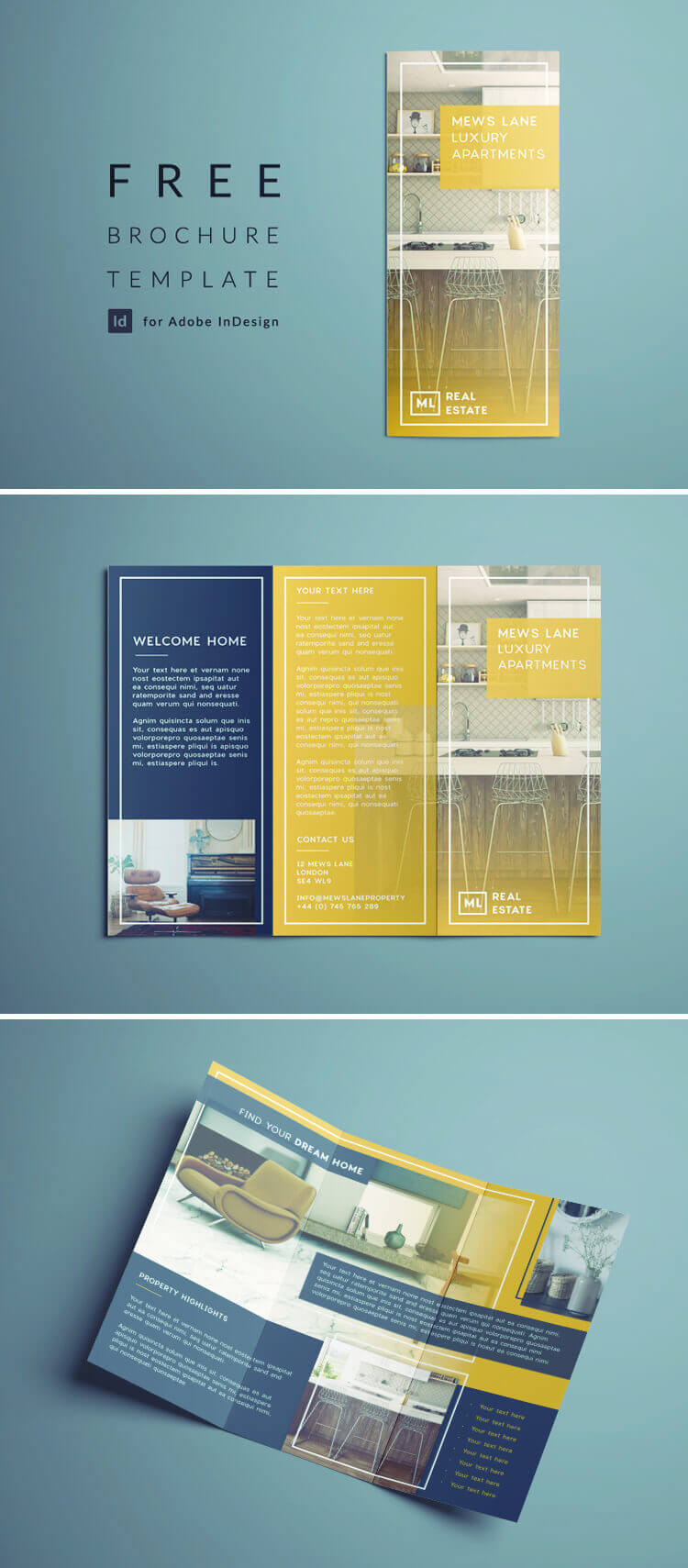 Tri Fold Brochure   Free Indesign Template Pertaining To Tri Fold Brochure Template Indesign Free Download