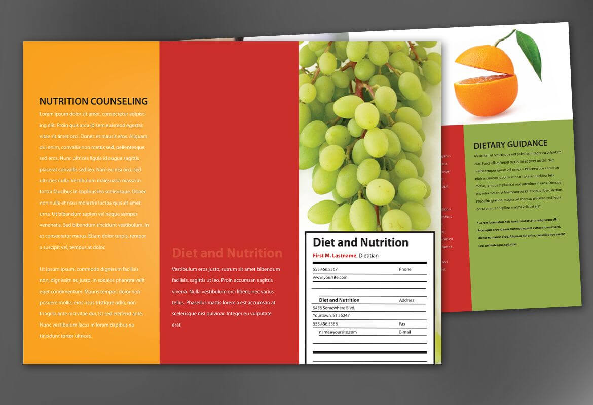 Tri Fold Brochure Template For Health And Nutrition. Order Inside Nutrition Brochure Template