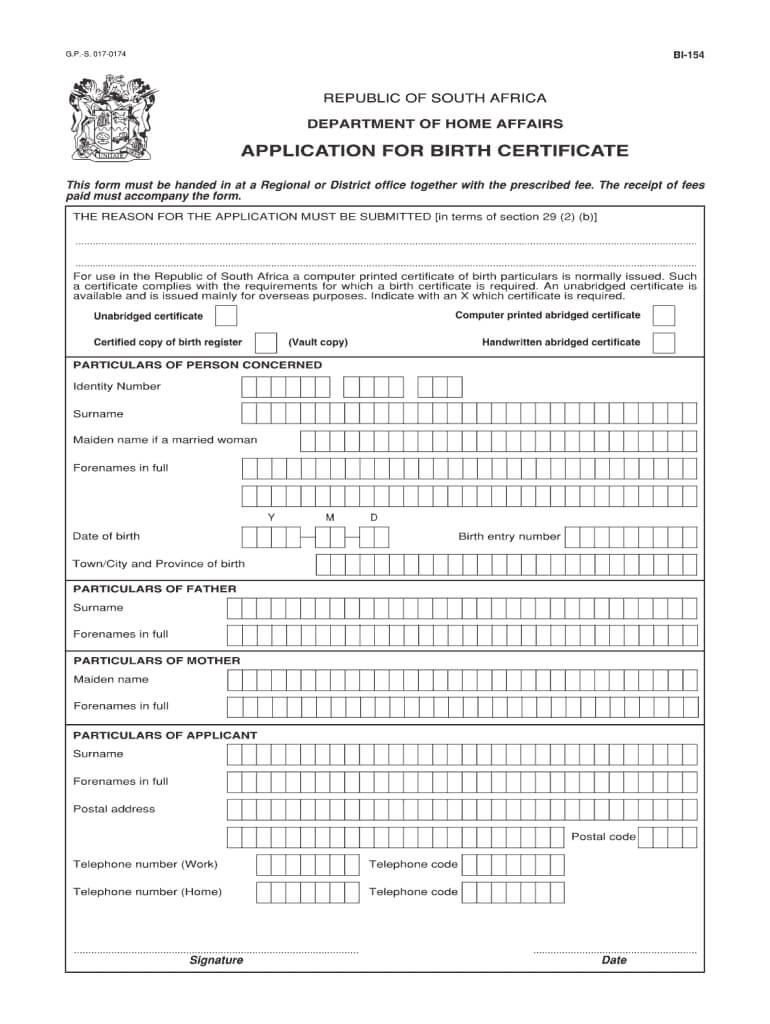Unabridged Birth Certificate Application Form No Download With Regard To South African Birth Certificate Template