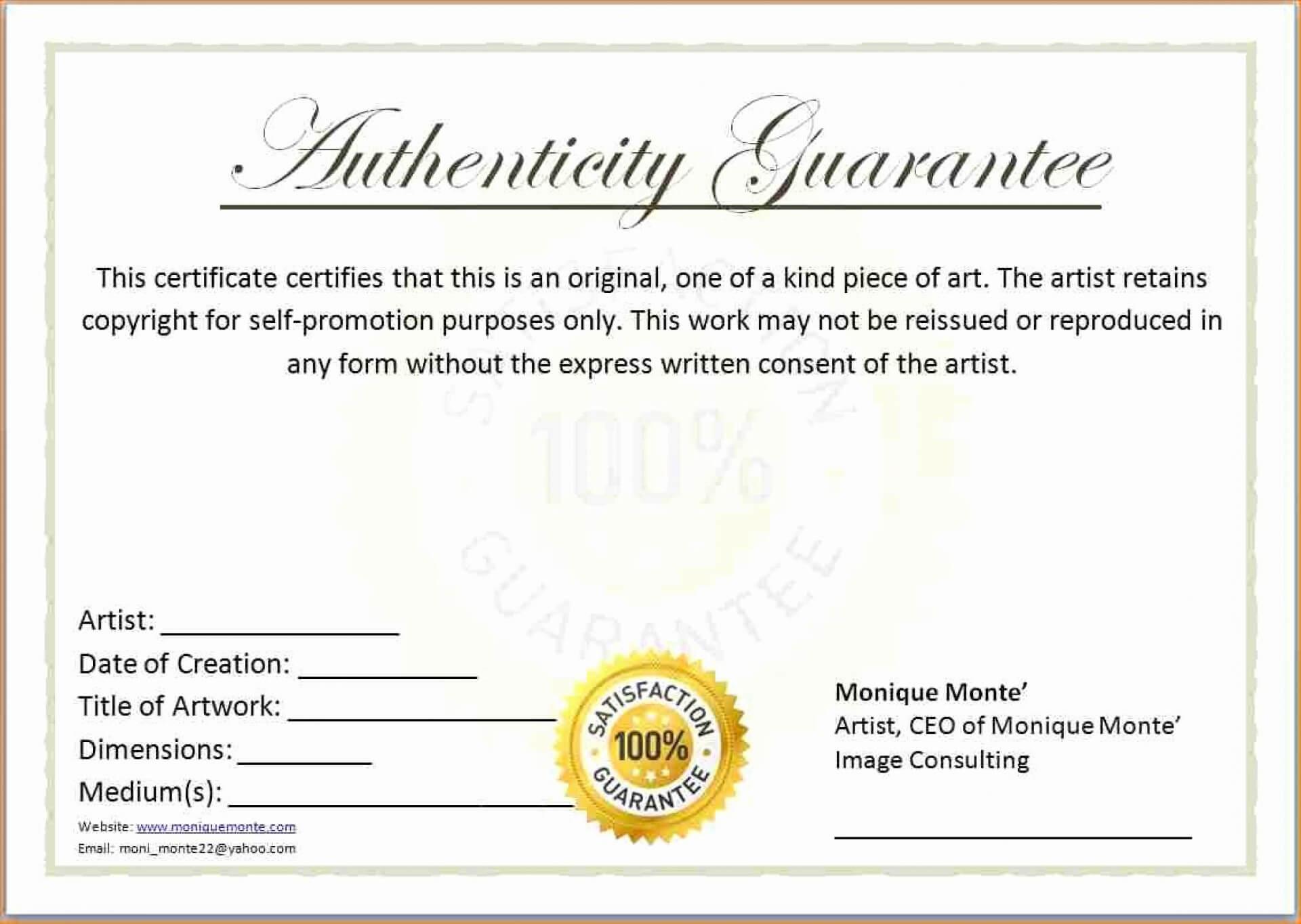 Unique Certificate Of Authenticity Template Free Ideas Pertaining To Certificate Of Authenticity Template