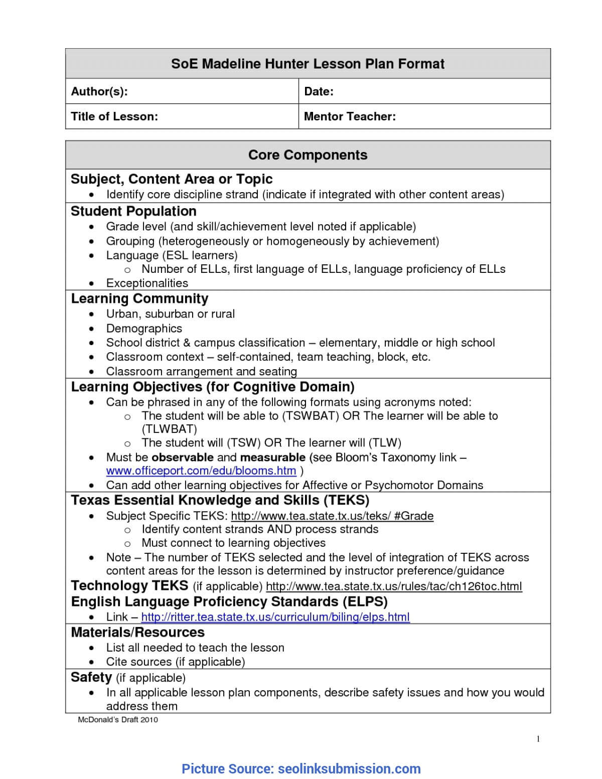 Unusual A Modern Version Of Madeline Hunter Lesson Plan In Madeline Hunter Lesson Plan Template Word
