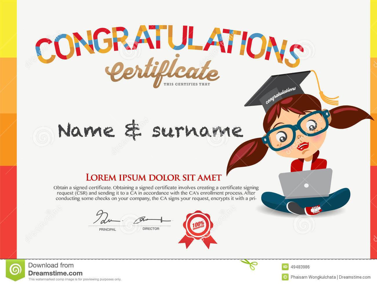 Vector Certificate For School Children Template. Stock With Regard To Children's Certificate Template