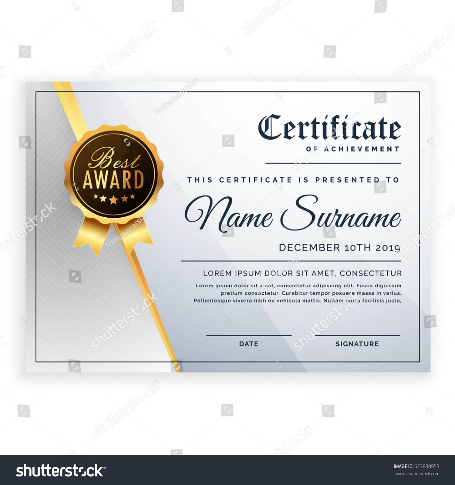 Vector Certificate Template Beautiful Certificate Template Pertaining To Beautiful Certificate Templates