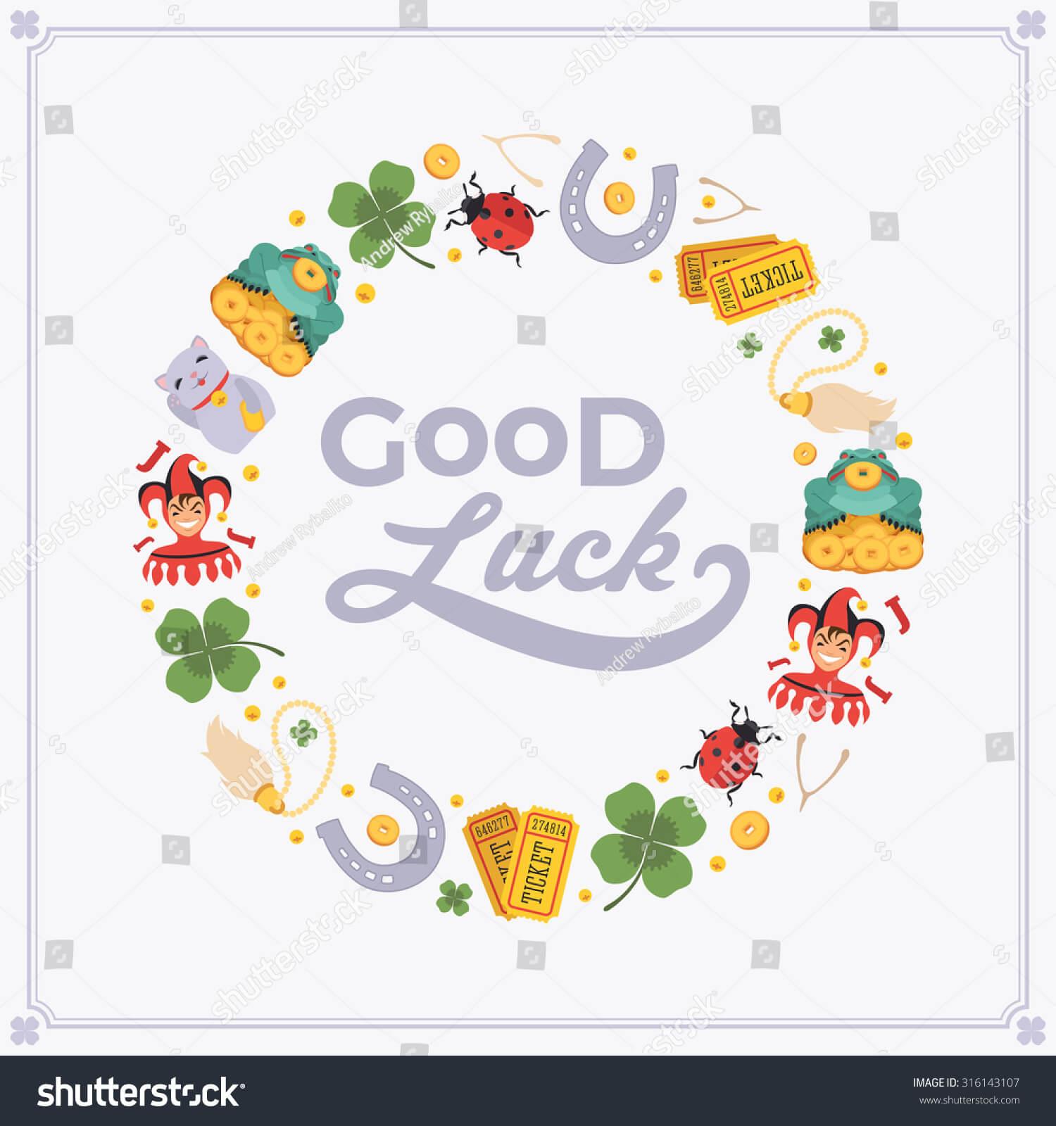 Vector Decorating Design Made Lucky Charms Stock Vector Regarding Good Luck Card Template