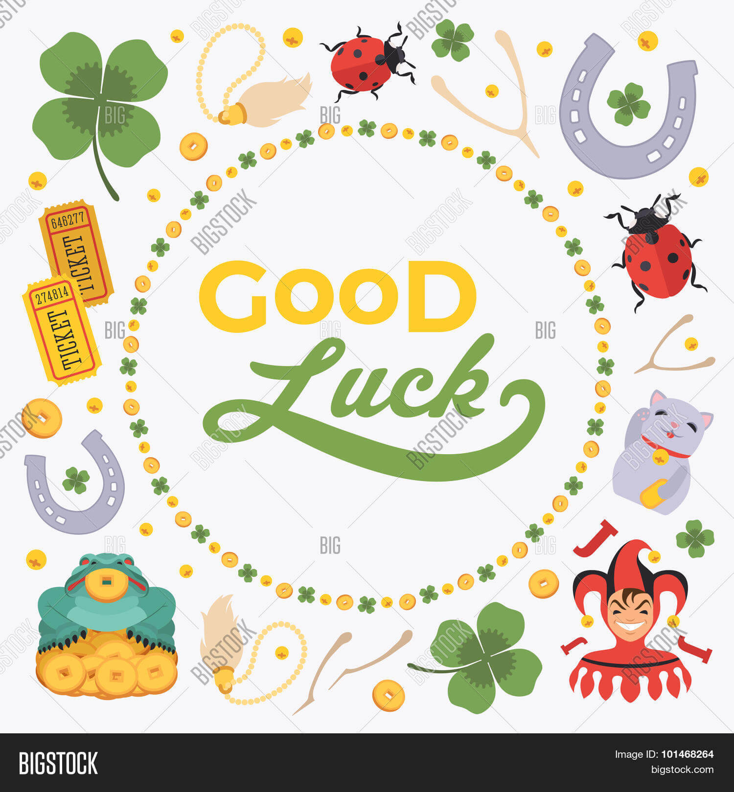 Vector Decorating Vector & Photo (Free Trial) | Bigstock For Good Luck Card Template