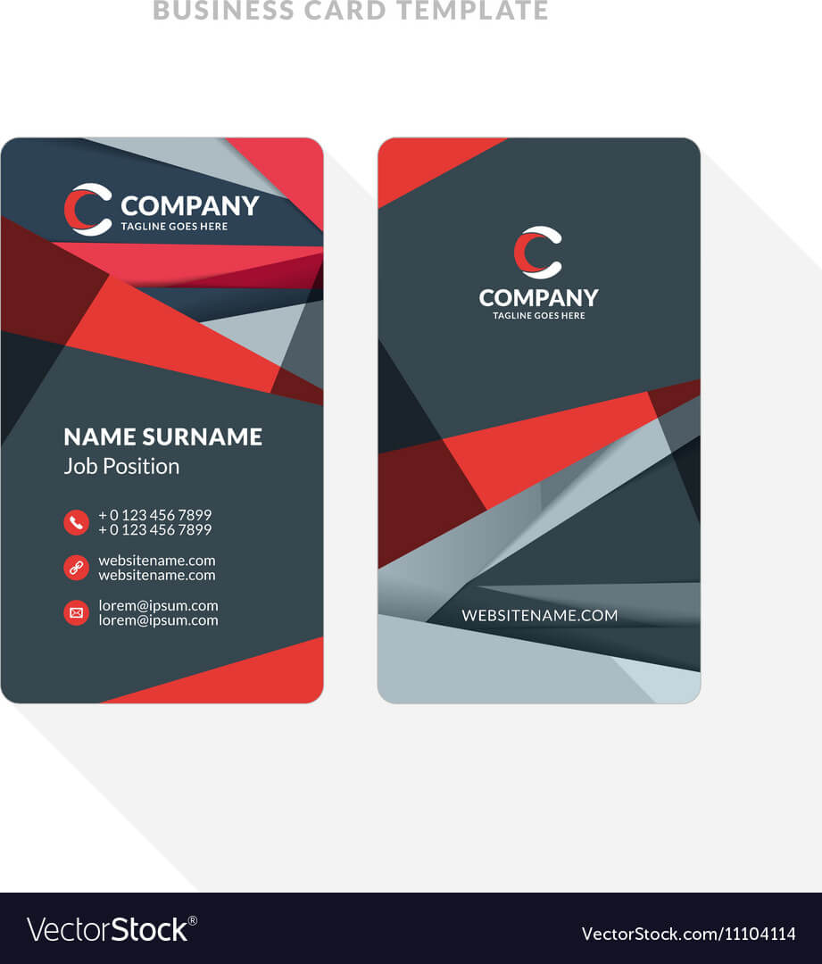 Vertical Double Sided Business Card Template With With Double Sided Business Card Template Illustrator