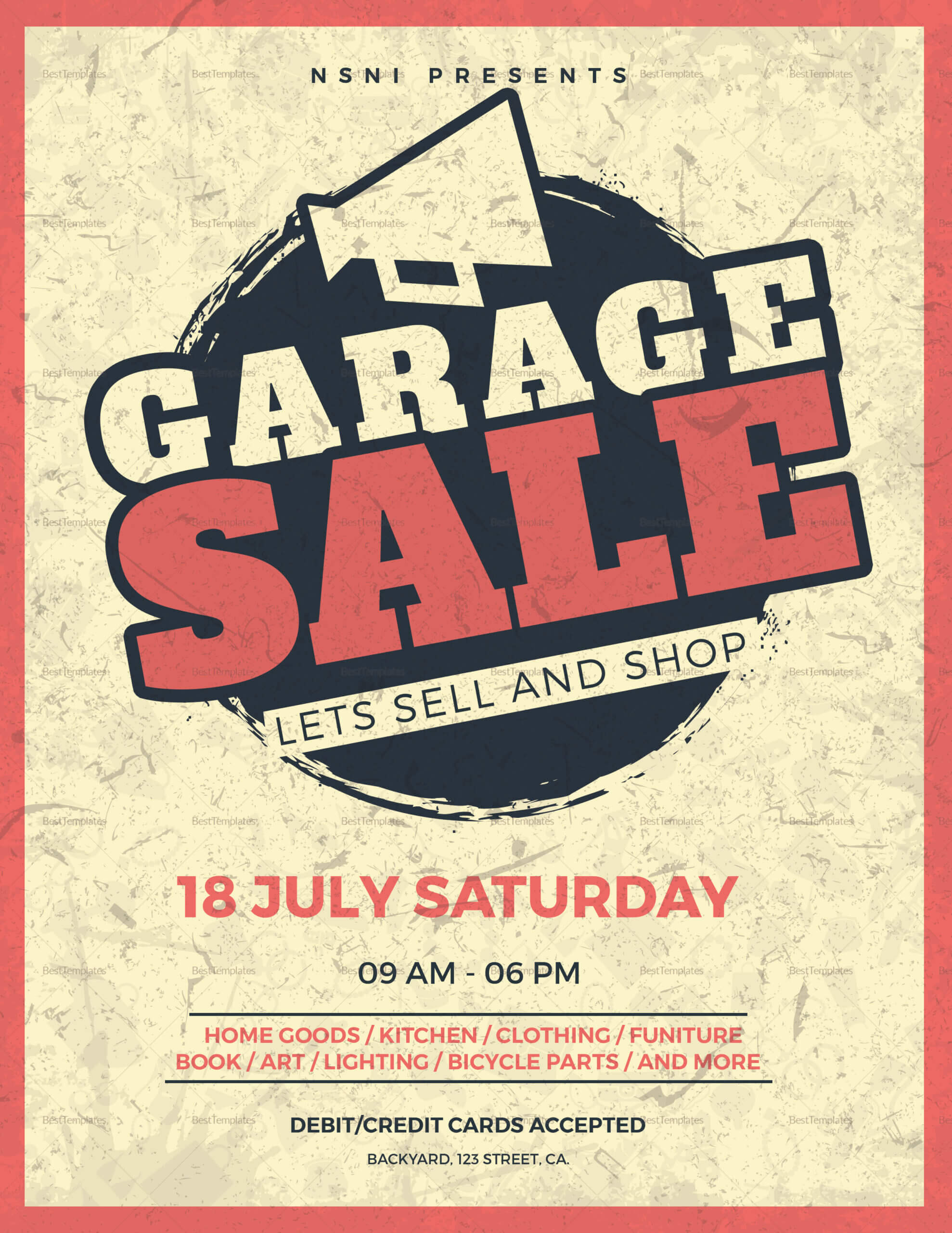 Vintage Garage Sale Flyer Template Pertaining To Garage Sale Flyer Template Word