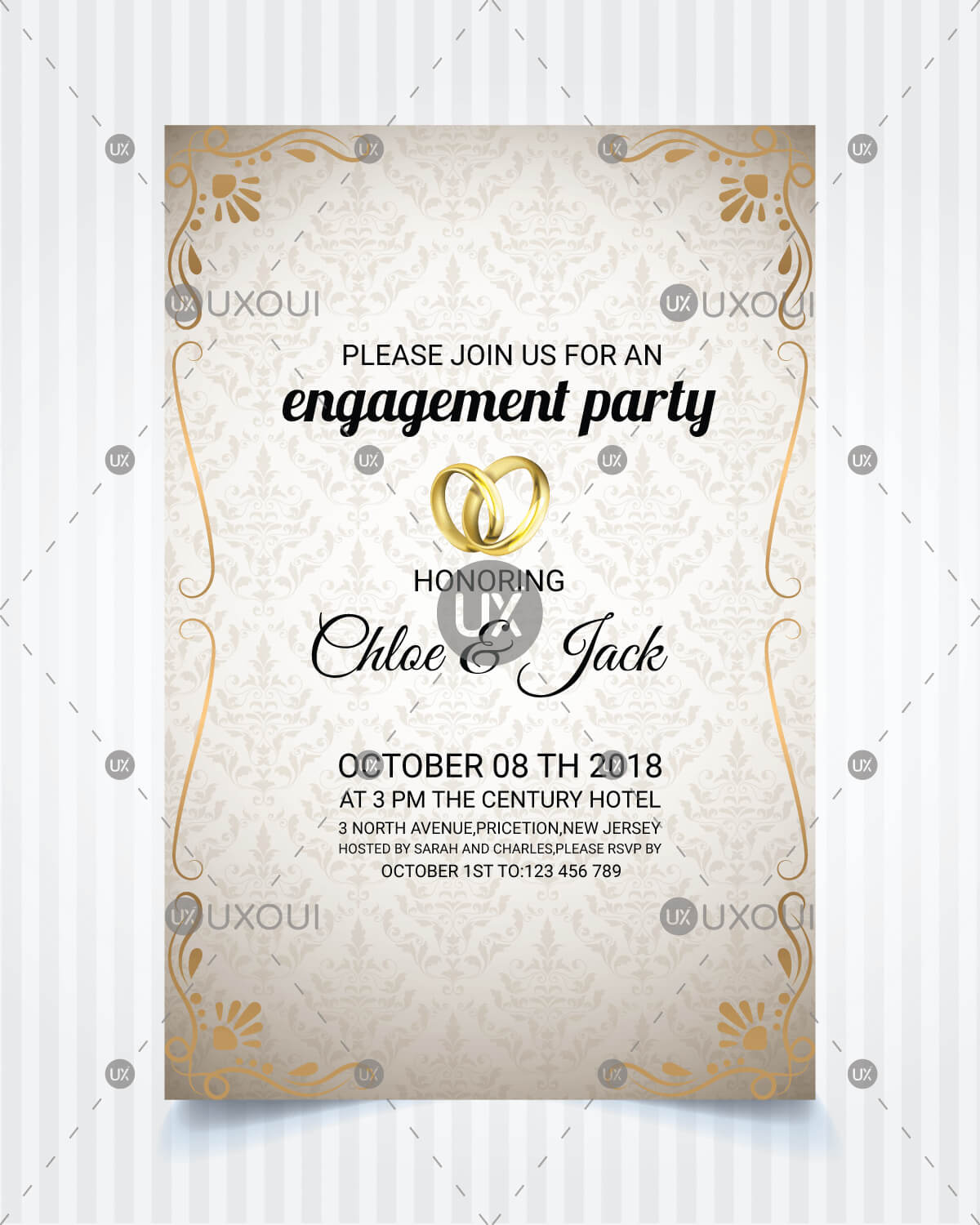 Vintage Style Wedding Engagement Party Invitation Card Template Design  Vector Regarding Engagement Invitation Card Template