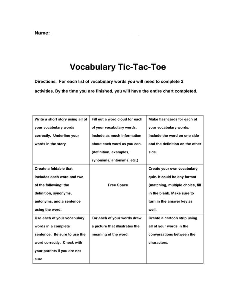 Vocabulary Tic Tac Toe In Tic Tac Toe Template Word