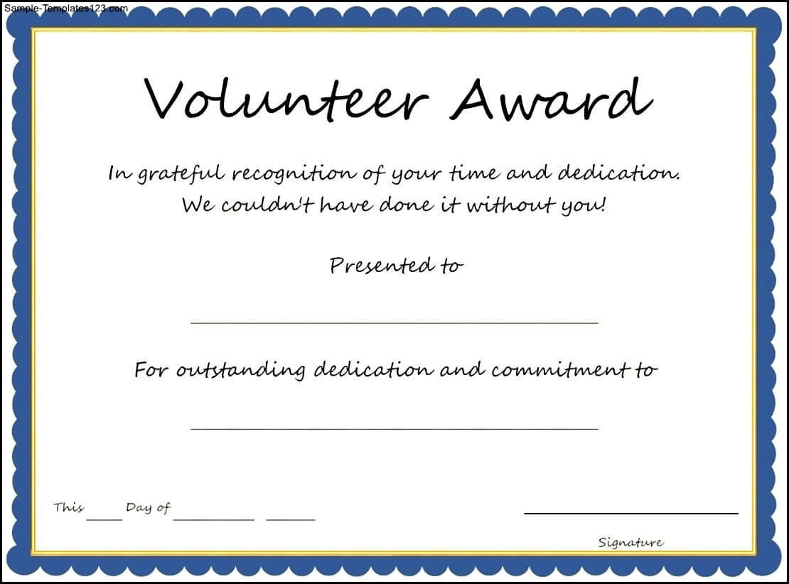 Volunteer Award Certificate Template - Sample Templates Inside Safety Recognition Certificate Template