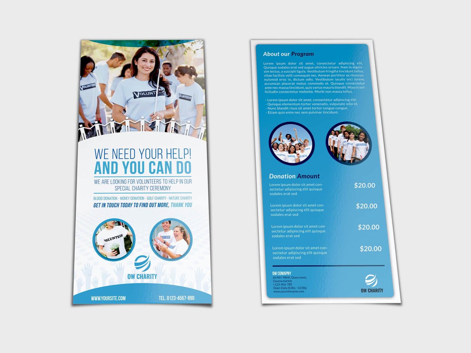 Volunteer Flyer Template Dl Sizeowpictures On Dribbble With Regard To Volunteer Brochure Template