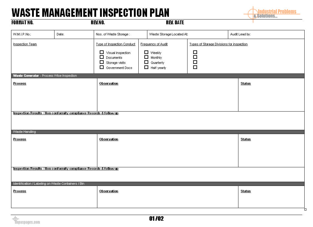 Waste Management Inspection Plan - Pertaining To Waste Management Report Template