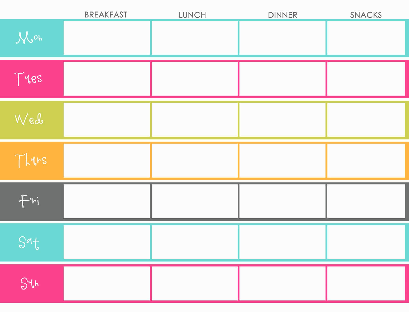 Weekly Meal Planner For Family Templates | Printable Weekly In Weekly Meal Planner Template Word