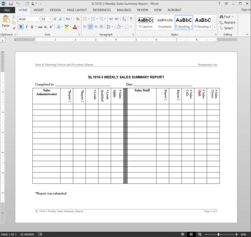 Weekly Sales Summary Report Template | Sl1010 3 In Sales Lead Report Template