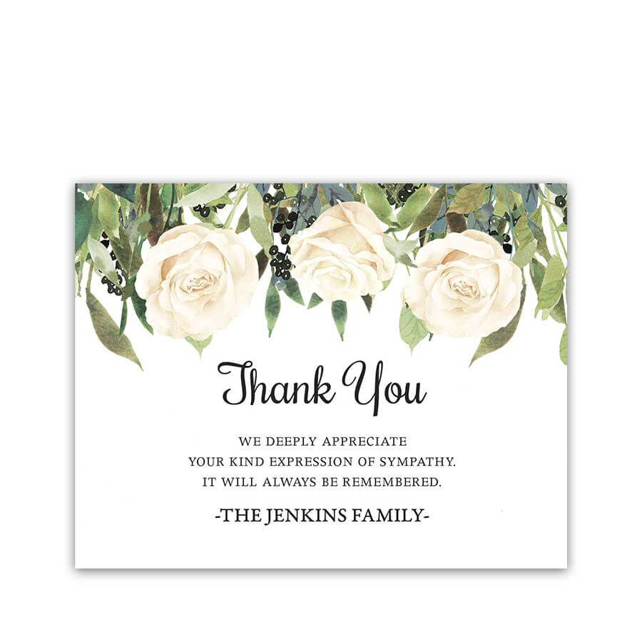 White Roses Funeral Thank You Card For Guests Custom With Sympathy Thank You Card Template