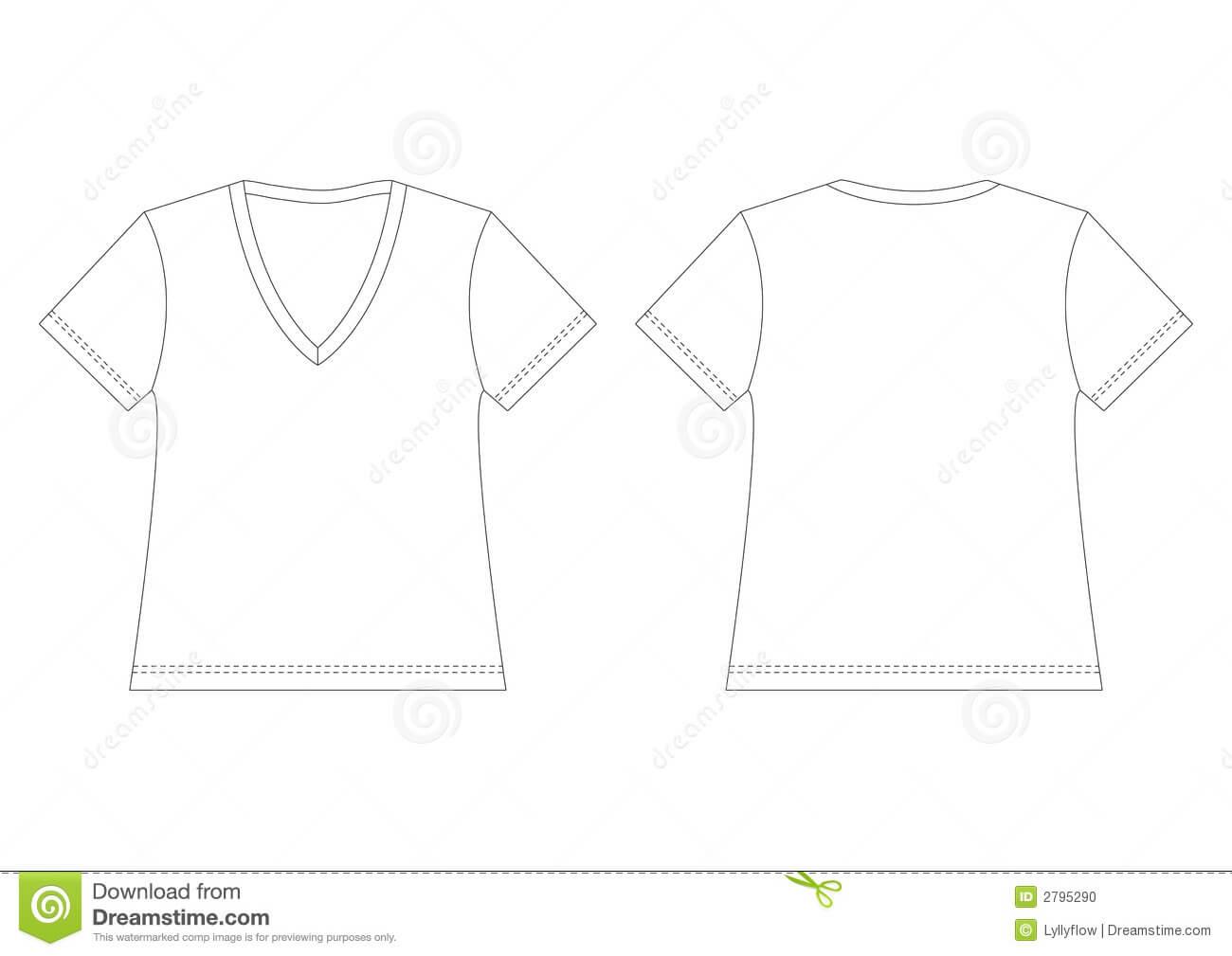 White V Neck T Shirt Stock Vector. Illustration Of Back For Blank V Neck T Shirt Template