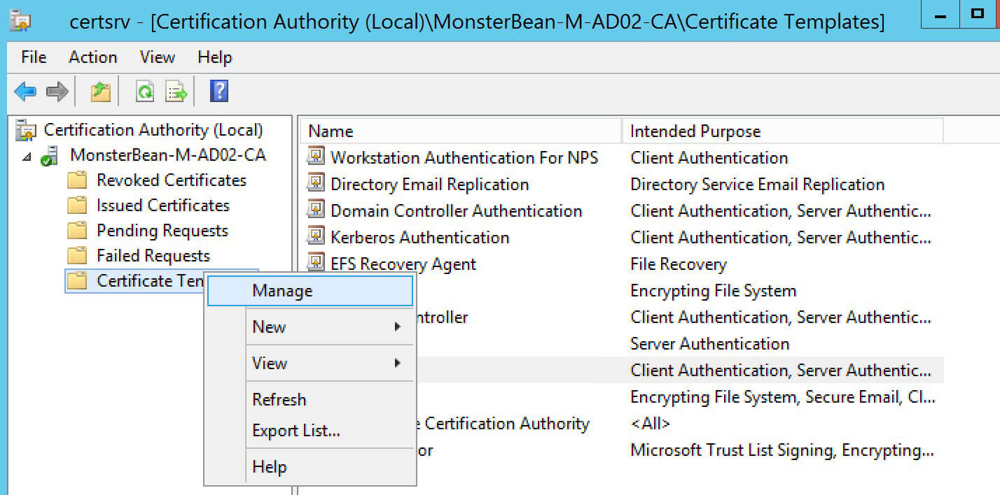 Windows 2012 R2 Nps With Eap Tls Authentication For Os X In Workstation Authentication Certificate Template