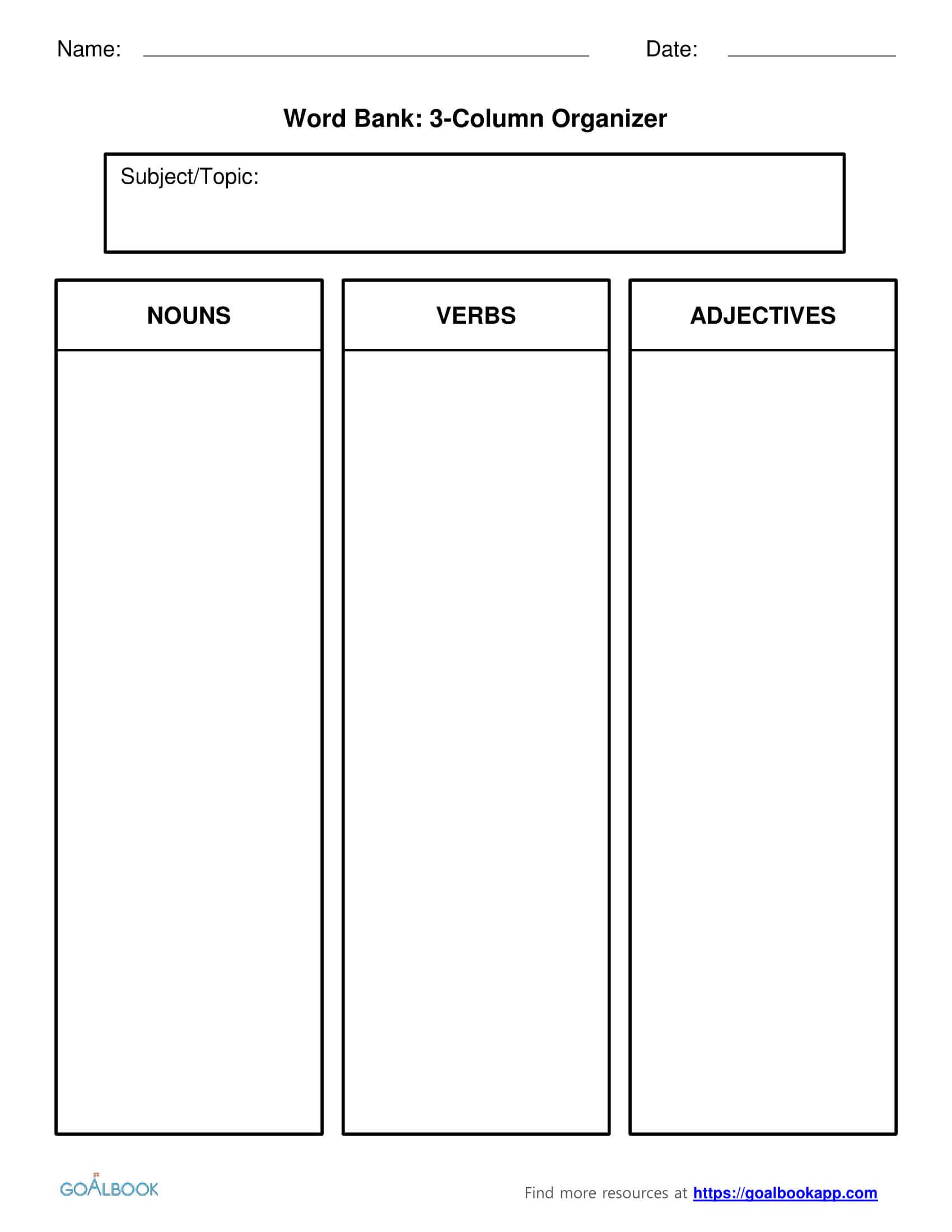 Word Bank | Udl Strategies - Goalbook Toolkit Pertaining To 3 Column Word Template