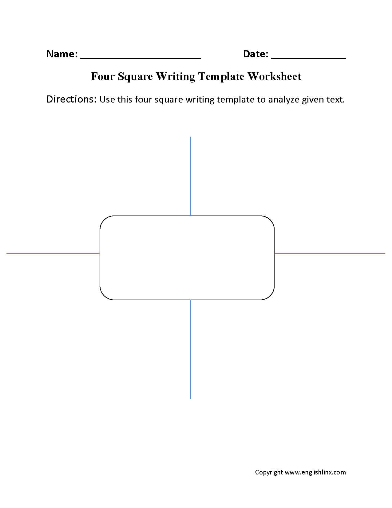 Writing Template Worksheets | Four Square Writing Template Regarding Blank Four Square Writing Template
