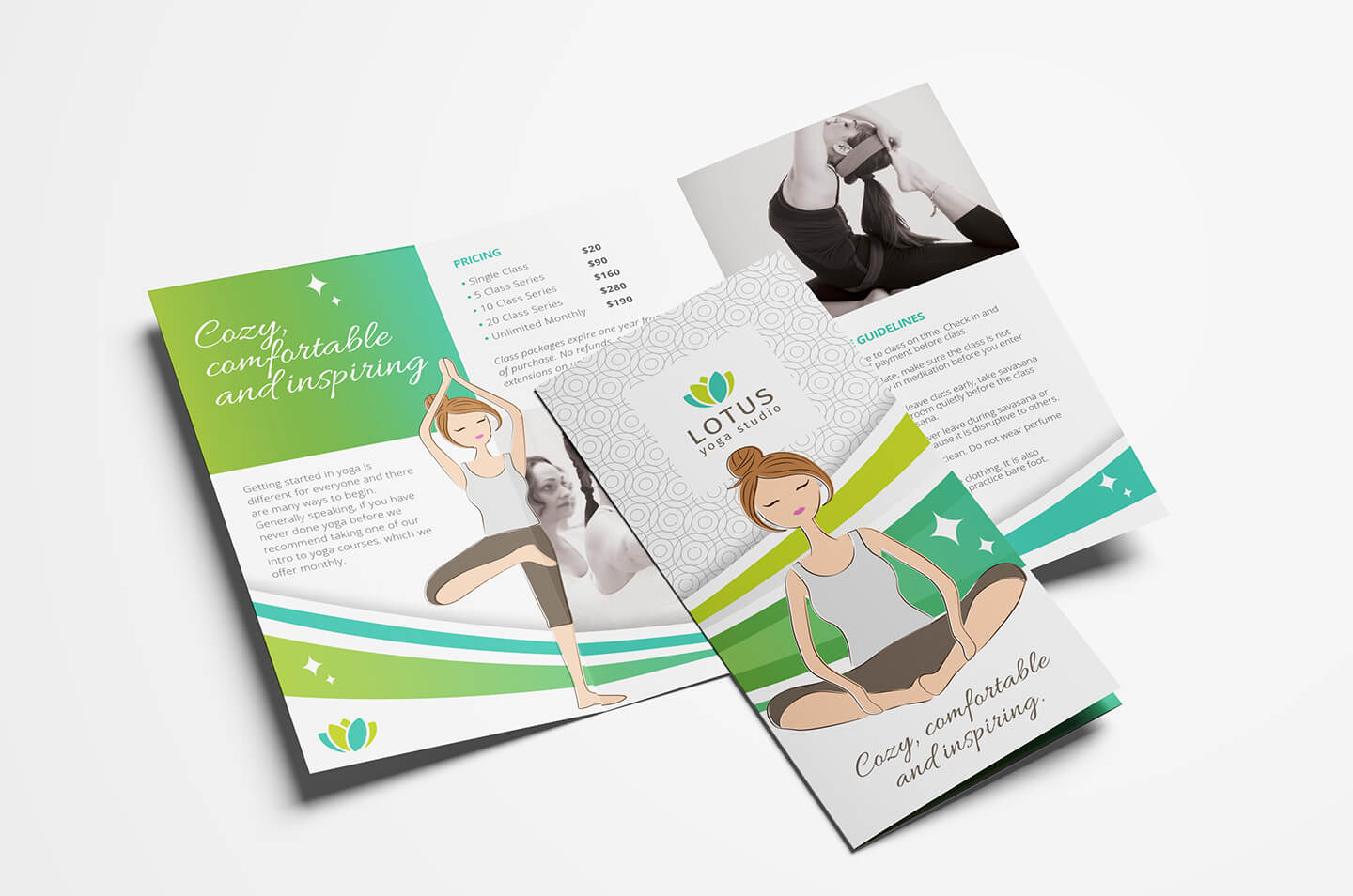 Yoga Studio Tri Fold Brochure Template In Psd, Ai & Vector Throughout Tri Fold Brochure Template Illustrator