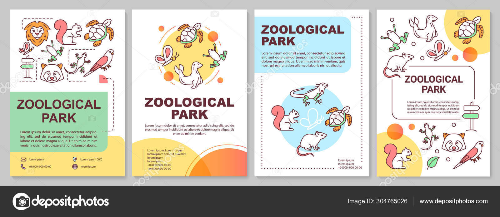 Zoological Park Brochure Template Layout. Zoo Animals. Flyer Inside Zoo Brochure Template